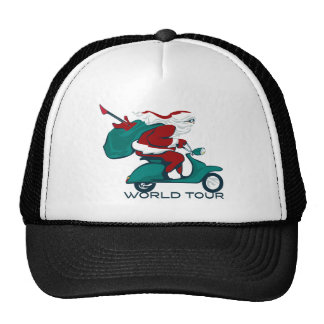 Santa s World Tour Scooter Mesh Hats