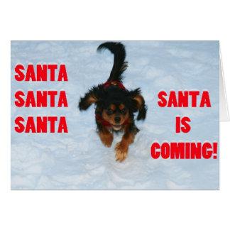 Santa, Santa, Santa Cavalier King Charles Spaniel Card