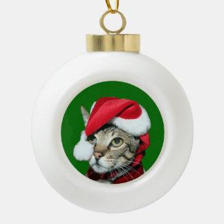 Santa Savannah Cat Ceramic Ball Christmas Ornament