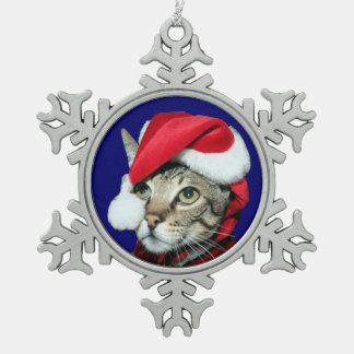 Santa Savannah Cat Snowflake Pewter Christmas Ornament