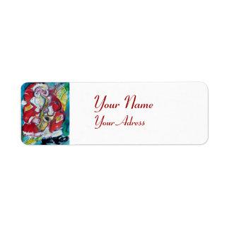 SANTA & SAX, CHRISTMAS JAZZ PARTY White Return Address Label