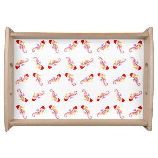 Santa Seahorse Pattern Serving Tray
