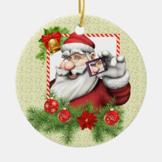 Santa Selfie Art Ceramic Christmas Ornament