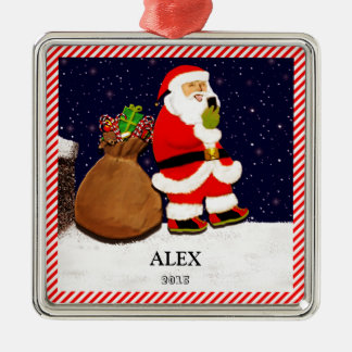 Santa Selfie Silver-Colored Square Ornament