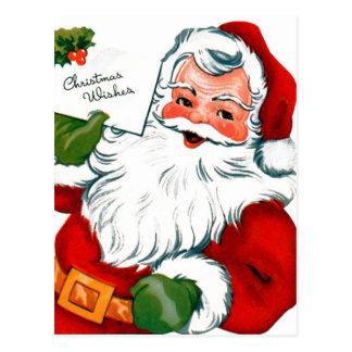 Santa sends Christmas Wishes Postcard