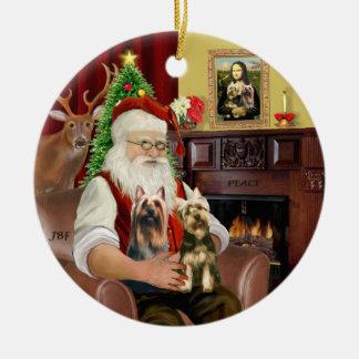 Santa - Silky Terriers (TWO) Ceramic Ornament