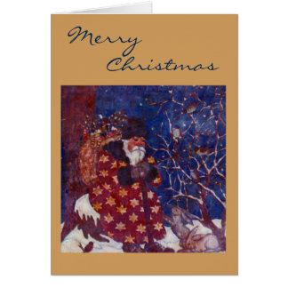 Santa Sitting On A Snowy Log Card