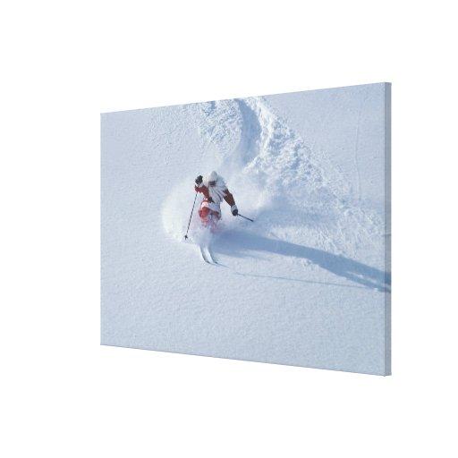 Santa Skiing at Snowbird Ski Resort, Wasatch Stretched Canvas Prints