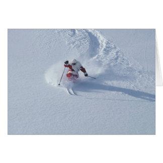 Santa Skiing at Snowbird Ski Resort, Wasatch Greeting Card