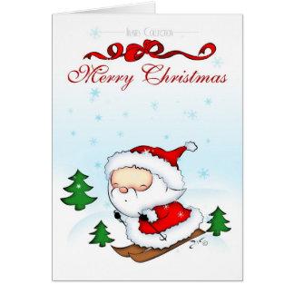 Santa Skiing Card