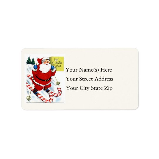 Santa Skiing on Candy Canes Vintage Address Label