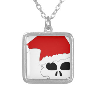 Santa skull hat silver plated necklace
