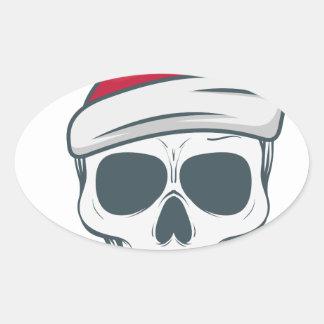 santa-skull oval sticker
