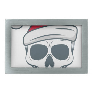 santa-skull rectangular belt buckles