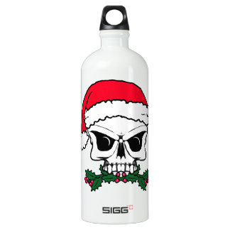 Santa skull water bottle