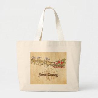 Santa Sled and Reindeer Seasons Greetings Large Tote Bag