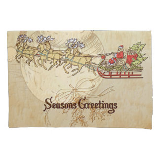 Santa Sled and Reindeer Seasons Greetings Pillowcase