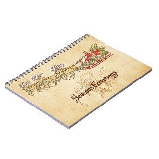 Santa Sled and Reindeer Seasons Greetings Spiral Notebook