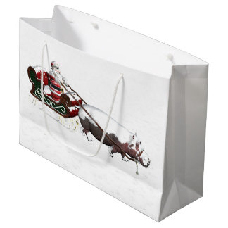 Santa Sled Pulled By Hippopotamus Large Gift Bag