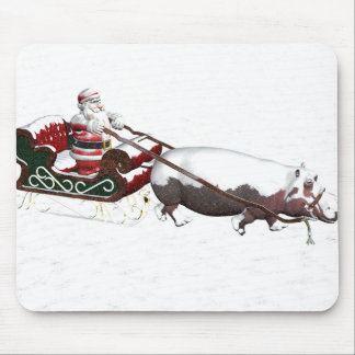 Santa Sled Pulled By Hippopotamus Mouse Pad