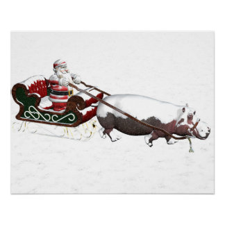 Santa Sled Pulled By Hippopotamus Poster