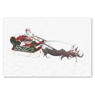 Santa Sled Pulled By Hippopotamus Tissue Paper