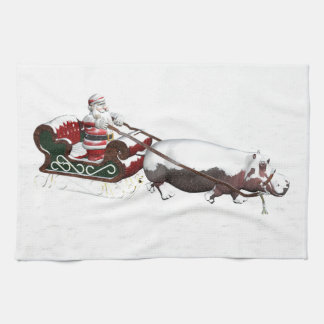 Santa Sled Pulled By Hippopotamus Towel