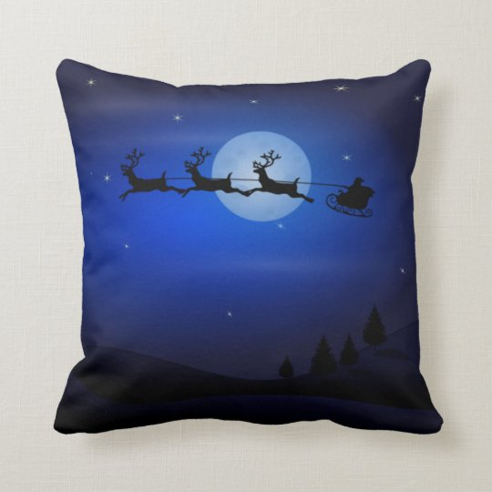 Santa Sleigh and Reindeer Flying Throw Pillow