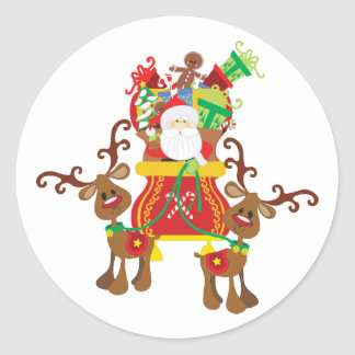 Santa Sleigh And Reindeer Sticker
