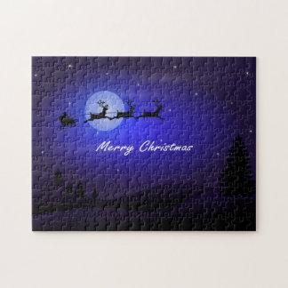 Santa Sleigh Moon Merry Christmas Jigsaw Puzzle