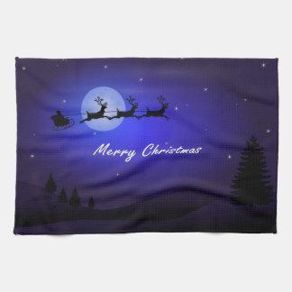 Santa Sleigh Moon Merry Christmas Kitchen Towel