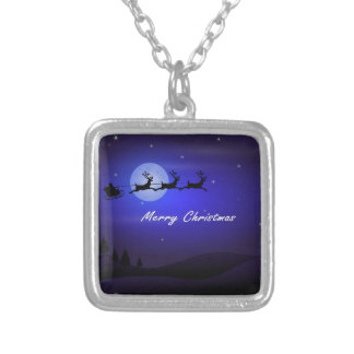 Santa Sleigh Moon Merry Christmas Silver Plated Necklace