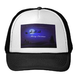 Santa Sleigh Moon Merry Christmas Trucker Hat