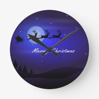 Santa Sleigh Moon Merry Christmas Wall Clock