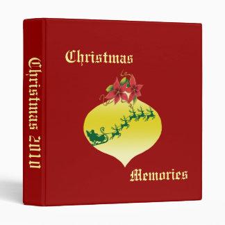 Santa & Sleigh Ornament Design 3 Ring Binder