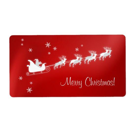 Santa Sleigh Red Christmas label