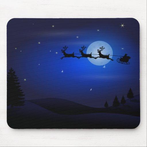 Santa, Sleigh, Reindeer, and Moonlit Landscape Mouse Pads