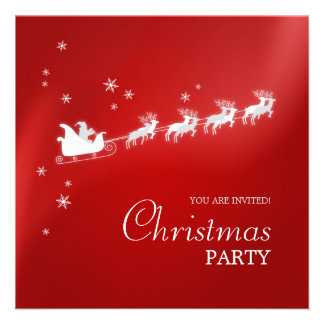 Santa Sleigh Reindeer Christmas party invitation
