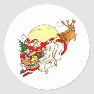 Santa Sleigh Round Sticker