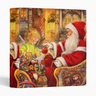 Santa sleigh - Santa claus illustration 3 Ring Binder
