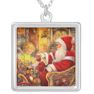Santa sleigh - Santa claus illustration Silver Plated Necklace