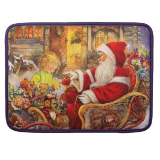 Santa sleigh - Santa claus illustration Sleeve For MacBook Pro