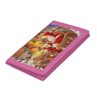 Santa sleigh - Santa claus illustration Tri-fold Wallet
