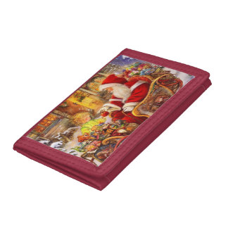 Santa sleigh - Santa claus illustration Trifold Wallet