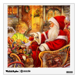 Santa sleigh - Santa claus illustration Wall Sticker