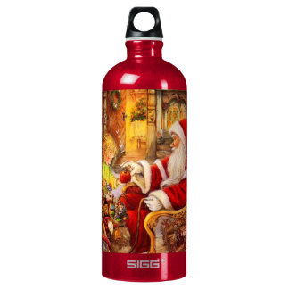 Santa sleigh - Santa claus illustration Water Bottle