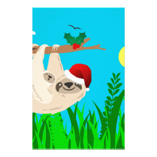 santa sloth personalized stationery