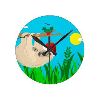 santa sloth round clock