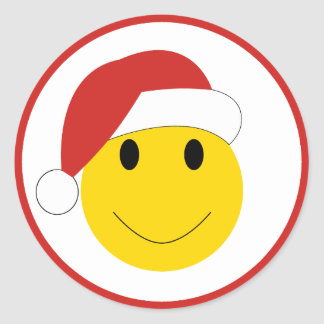 Santa Smiley Holiday cards and gifts. Classic Round Sticker