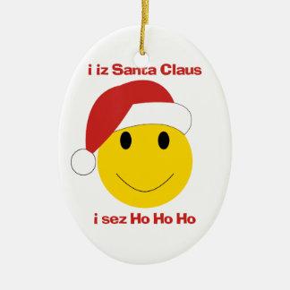 Santa Smiley sez ho ho ho Christmas ornament
